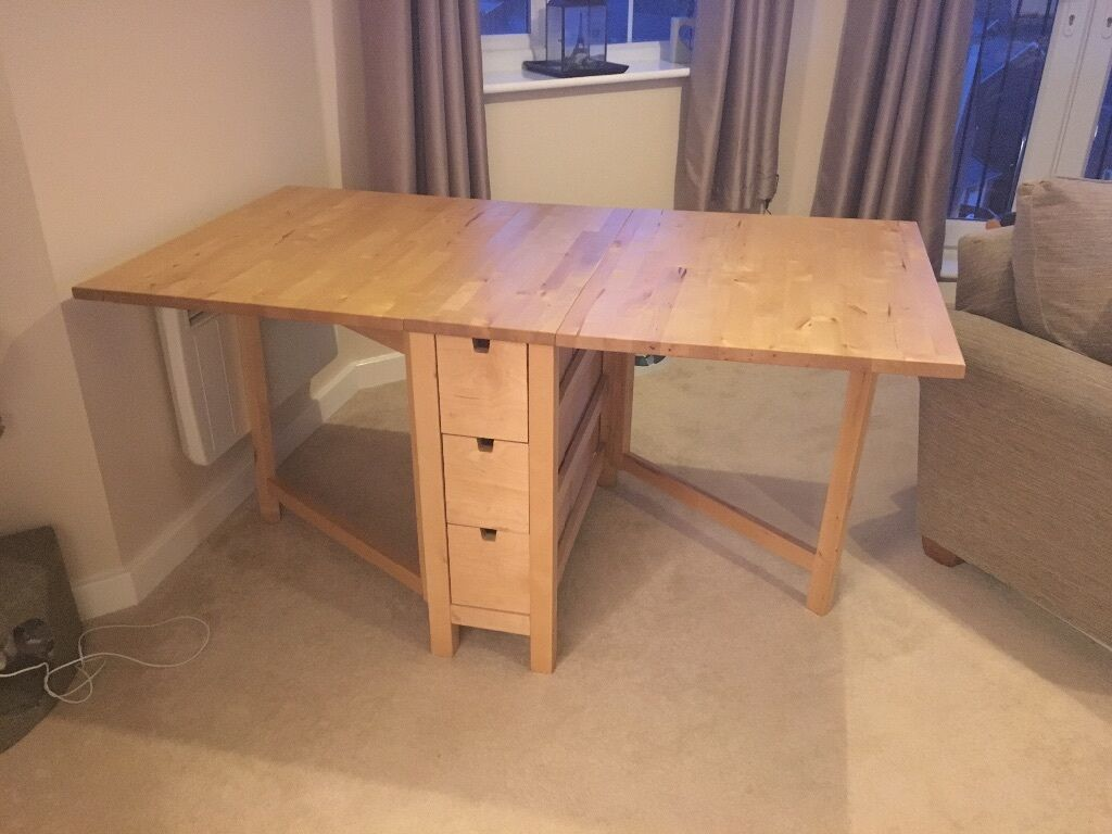 ikea kitchen table with drawers cabinet colors for small kitchens norden drop leaf extendable solid wood