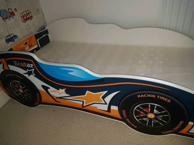 Toddler Racing Car Bed With Mattress
