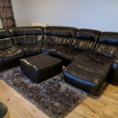 Dfs Brown Half Leather Corner Sofa Recliners Sofas Uk In Loughborough Leicestershire