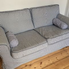 Blue Striped Sofa Uk Bedroom With Bed Lovely And White Two Seater