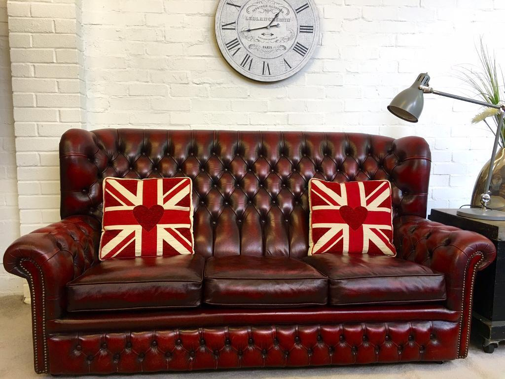high back chesterfield sofa outback power reclining loveseat beautiful vintage oxblood can deliver in