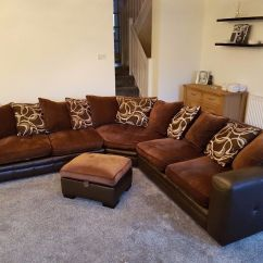 Brown Fabric Corner Sofa Dfs Three Seat Slipcover Moda And Matching Pouffe In Hythe