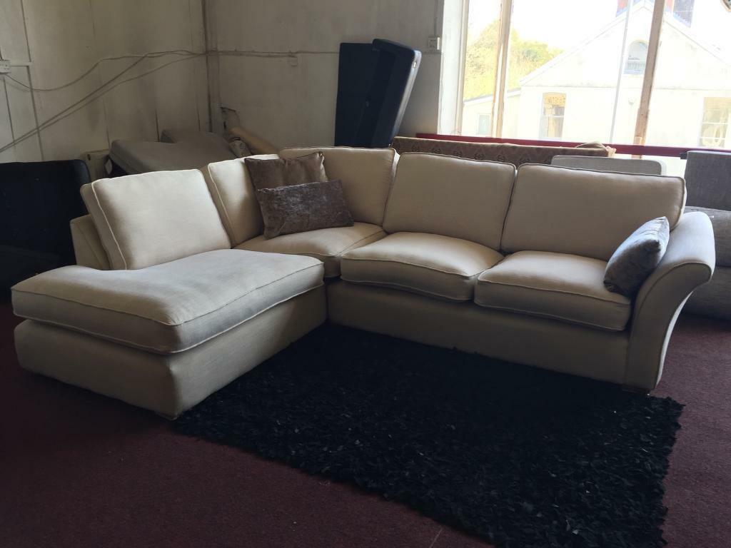 cream sectional sofa fabric pottery barn chaise corner in swansea gumtree