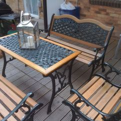 Cast Iron Table And Chairs Gumtree Desk Chair Covers Amazon Ornate Garden Furniture Set 2 Benches 1