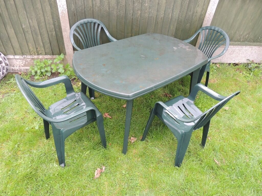 Plastic Outdoor Chair Patio Garden Furniture Set Large Plastic Table And 4