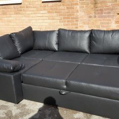 Olympus Black Leather Corner Sofa Bed With Storage Las Vegas Factory Fantastic Brand New