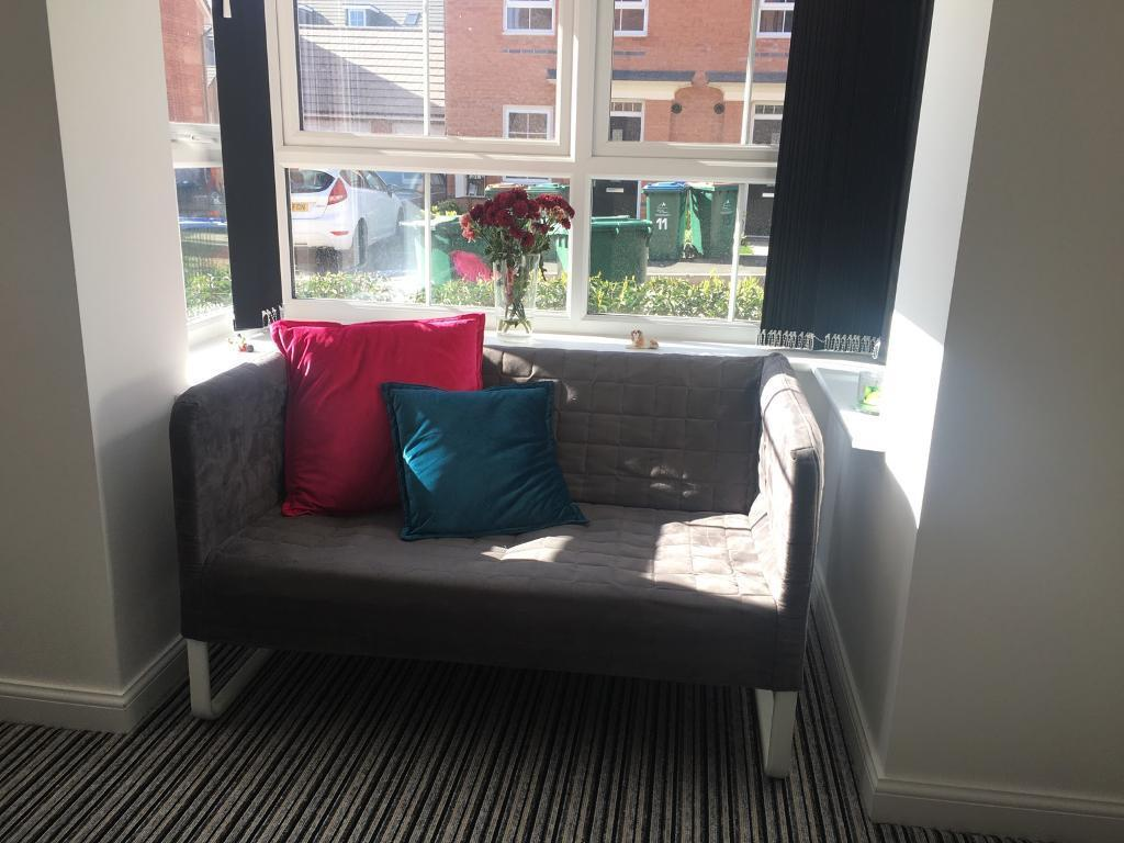 grey leather corner sofa uk slipcover for dual reclining ikea knopparp - reserved now   in coventry, west ...