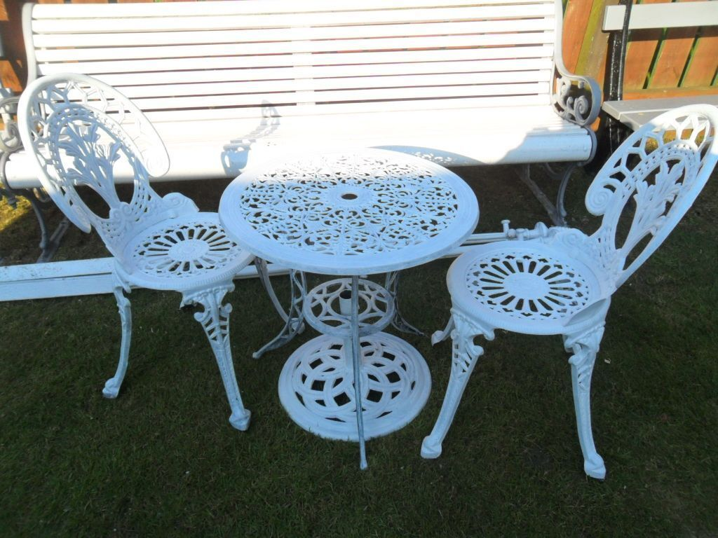 cast iron table and chairs gumtree pvc chair mats for carpet lovely white aluminium bistro set