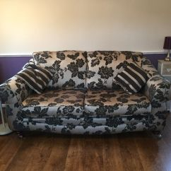 Black 3 Seater Sofa And Cuddle Chair Luna Uk Storage Pouffe In