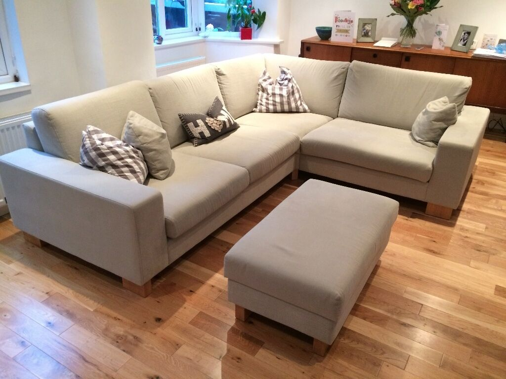 pratts leather sofas sofa without back or arms crossword grey fabric corner with footstool - for sale due to ...