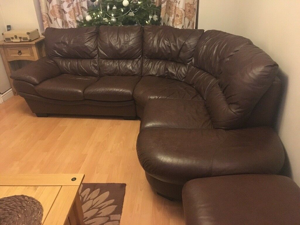 dfs brown half leather corner sofa sears cartwright reclining with foot stool in