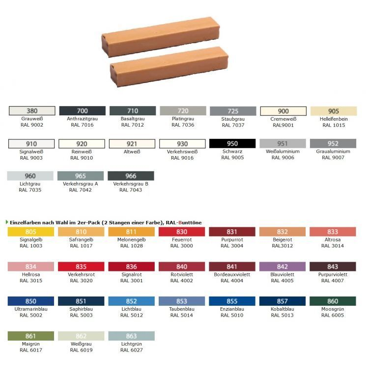 CleHo Hartwachs 13 in diversen RAL- & Buntfarbtönen 2er Pack für Korrekturen