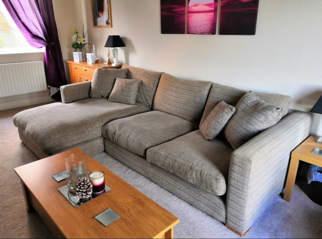 large chaise sofa dfs costco chester pullout dillon left hand facing corner l shaped in taupe beige rrp 1999