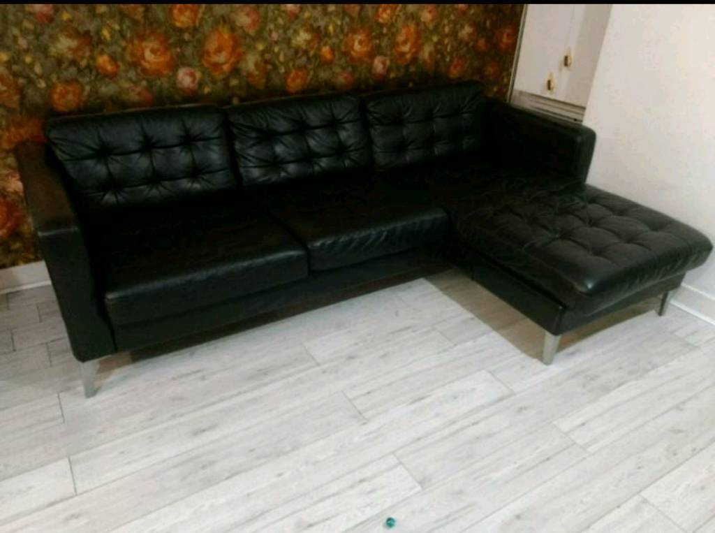 corner sofa bed east london retro leather red ikea karstad black right left facing delivery possible