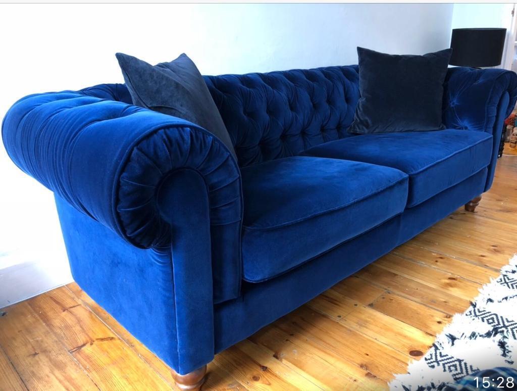 blue velvet chesterfield sofa wooden online purchase 3 seater in lambeth