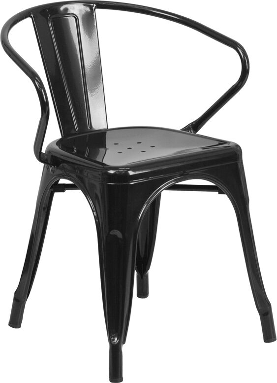 bistro chairs outdoor bar height with arms industrial style black metal restaurant chair cafe details about