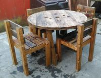 pallet or cable reel table and chair sets upcycled , hand