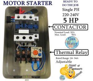 wiring diagram for 230v single phase motor 2001 jetta vr6 engine electrical 5hp starter ebay magnetic control 5 hp 220 240v 24 34a on