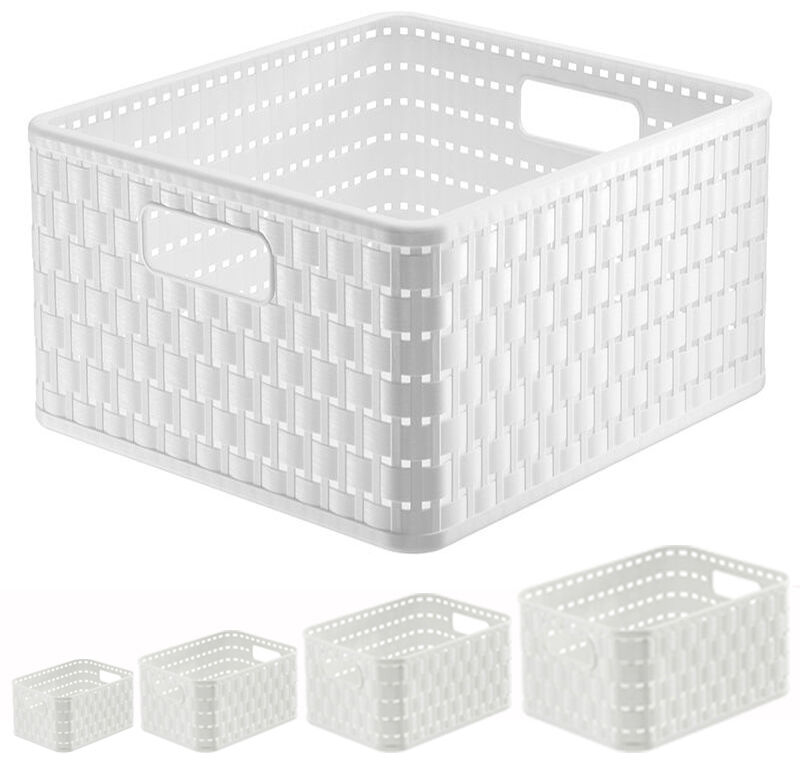 Aufbewahrungskorb weiß Korb aus Kunststoff Regalkorb Plastik Ordnungsbox Rattan6
