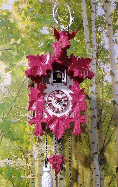 Design Kuckucksuhr moderne Quarz Uhr Hirschkopf weiß pink Quarzuhr neu TOP