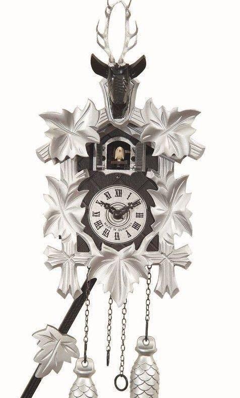 Kuckucksuhr modern Quarz Uhr Swarovski- Kristalle Hirschkopf schwarz silber