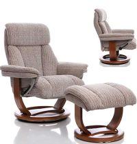 Swivel recliner chair + stool