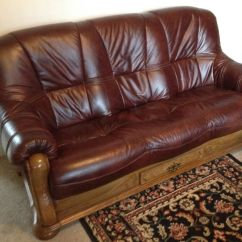 Scs Leather Sofas And Chairs Multiyork Sofa Beds Dark Brown With Solid Honey Oak Surround