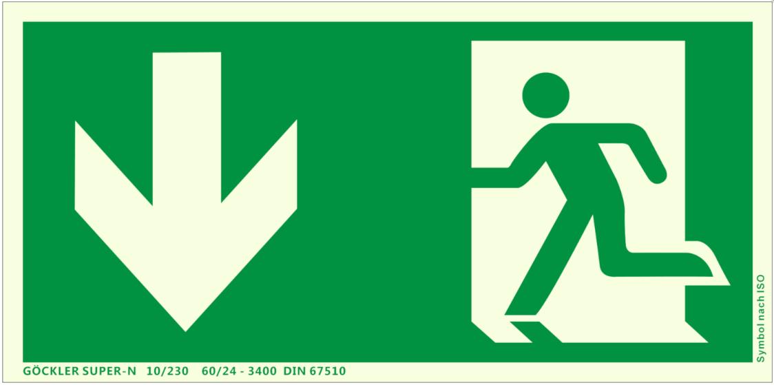 Fluchtweg Notausgang Schild langnachleuchtend Kunststoff Pfeil unten ASR A1.3