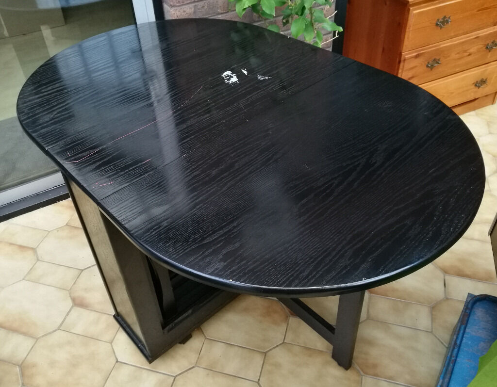 Black Butterfly Fold-Away Dining Table With 4 Chairs For