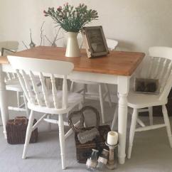Farmers Dining Table And Chairs Green Cube Shabby Chic Farmhouse Kitchen