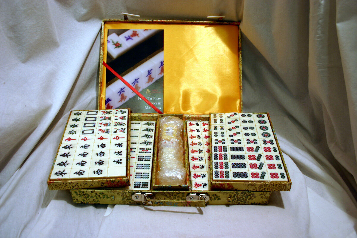 Chinese Mahjong Game Set With Ivory Colored Tile And