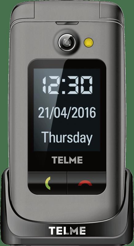Telme X200 Senioren-Klapp-Handy mit Ladestation, SOS Taste Spacegrau #1112342