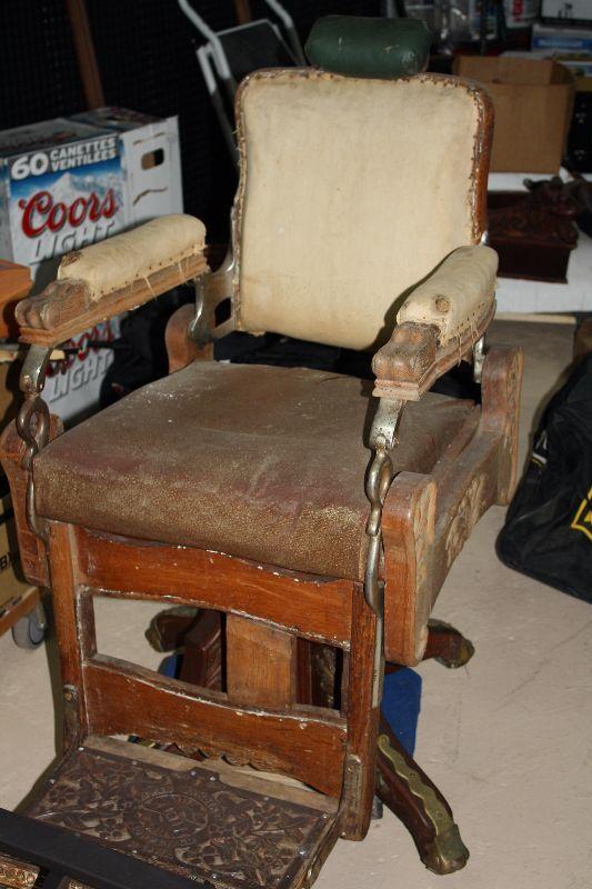 Antique Koken barber chair  wooden barber chair  Arts