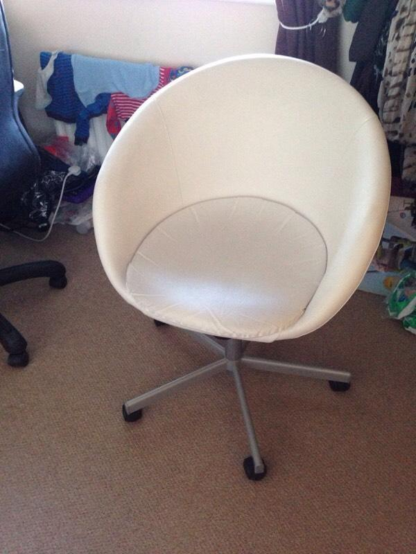 Cream Leather Home Office Study Desk Chair Seat Swivel