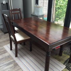 Dining Room Table And Chairs Gumtree Living Furniture Homebase 'marrakech' 6 Seater, Dark Solid Wood Matching | In Byfleet ...