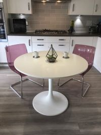 Ikea Docksta white dining table with 2 Ikea Tobias purple ...