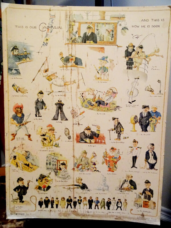 1960s THIS is our CAPTAIN poster board COMICAL nautical MARINE  Arts  Collectibles  Cambridge