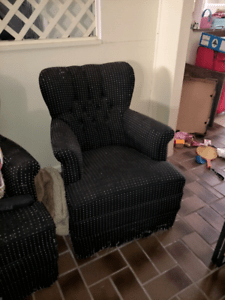 bedroom chair brisbane office neck support attachment two antique armchairs chairs gumtree
