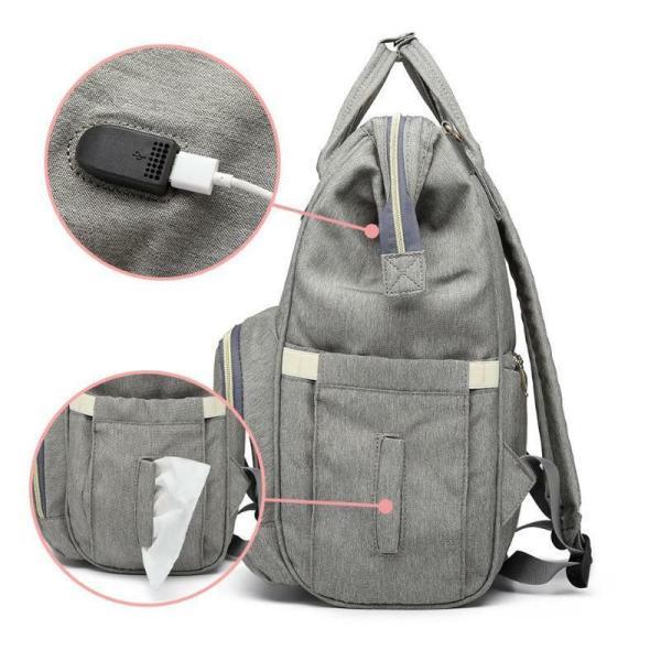 LEQUEEN Waterproof Diaper Bag USB Charging Large Capacity Mummy Nursing Backpack 5
