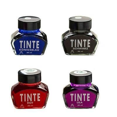 Tintenglas, Tintenfass, Füllhaltertinte 30 ml  Königsblau, Lila, Rot, Schwarz