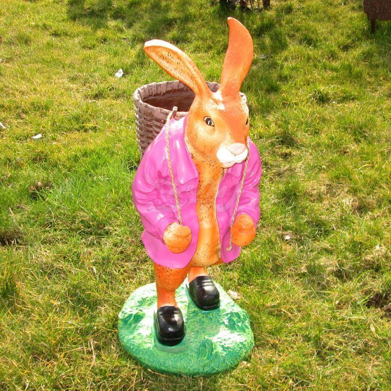 OSTERHASE stehend pink mit KORB 73 cm Garten Deko Tier Figur Ostern Osterdeko