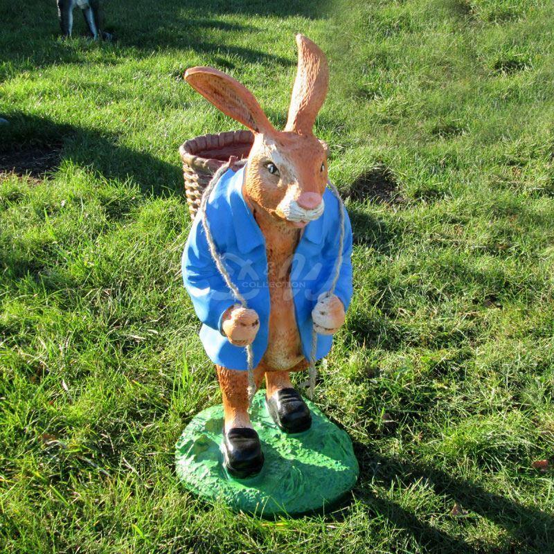 OSTERHASE stehend blau mit KORB 73 cm Garten Deko Tier Figur Ostern Osterdeko