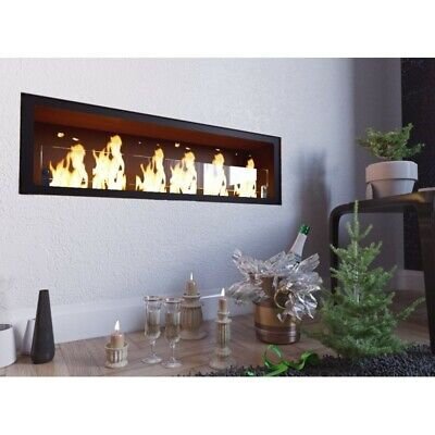 BIOETHANOL FIREPLACE BUILT-IN WITH GLASS MODEL GIOIA