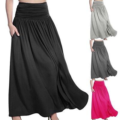 Ladies Maxi High Waist Flared Pleated Swing Long Dress Skirt Full Length Plain