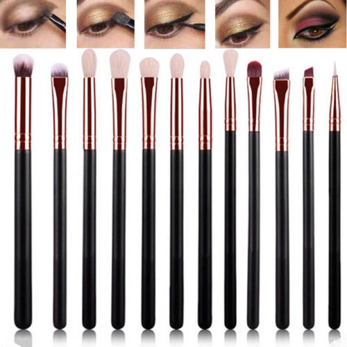 12tlg Make Up Pinsel Set Schminkpinsel Eyeliner Lidschatten Lip Kosmetik Kit DE