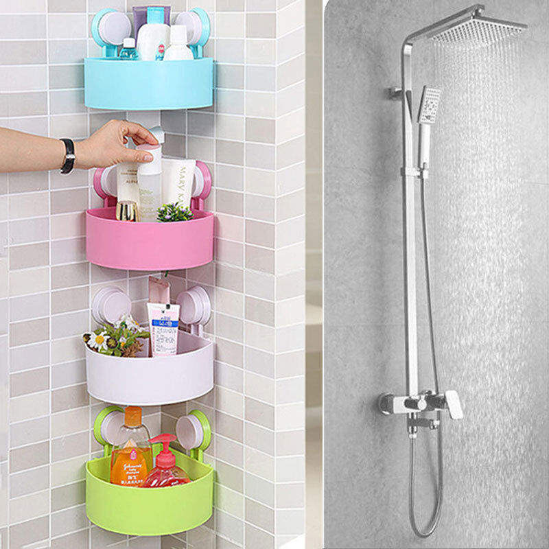 Bathroom Kitchen Plastic Shower Suction Cup Corner Shelf Storage Rack Organizer  eBay