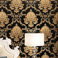 Luxury Black Metallic Gold Texture Vinyl Damask Wallpaper ...