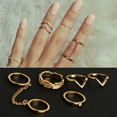 Stacking Punk Rings Shiny Middle Finger Ring Set New
