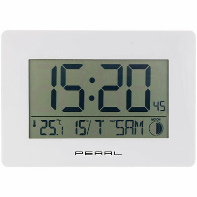 PEARL Funk-Wanduhr mit Jumbo-Uhrzeit, Temperatur- & Datums-Anzeige, weiß