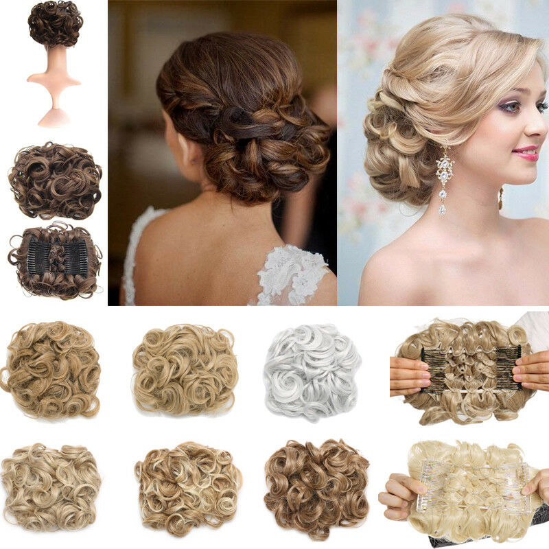 Natural Curly One Piece Comb Clip Hair Bun Extension Updo Wedding